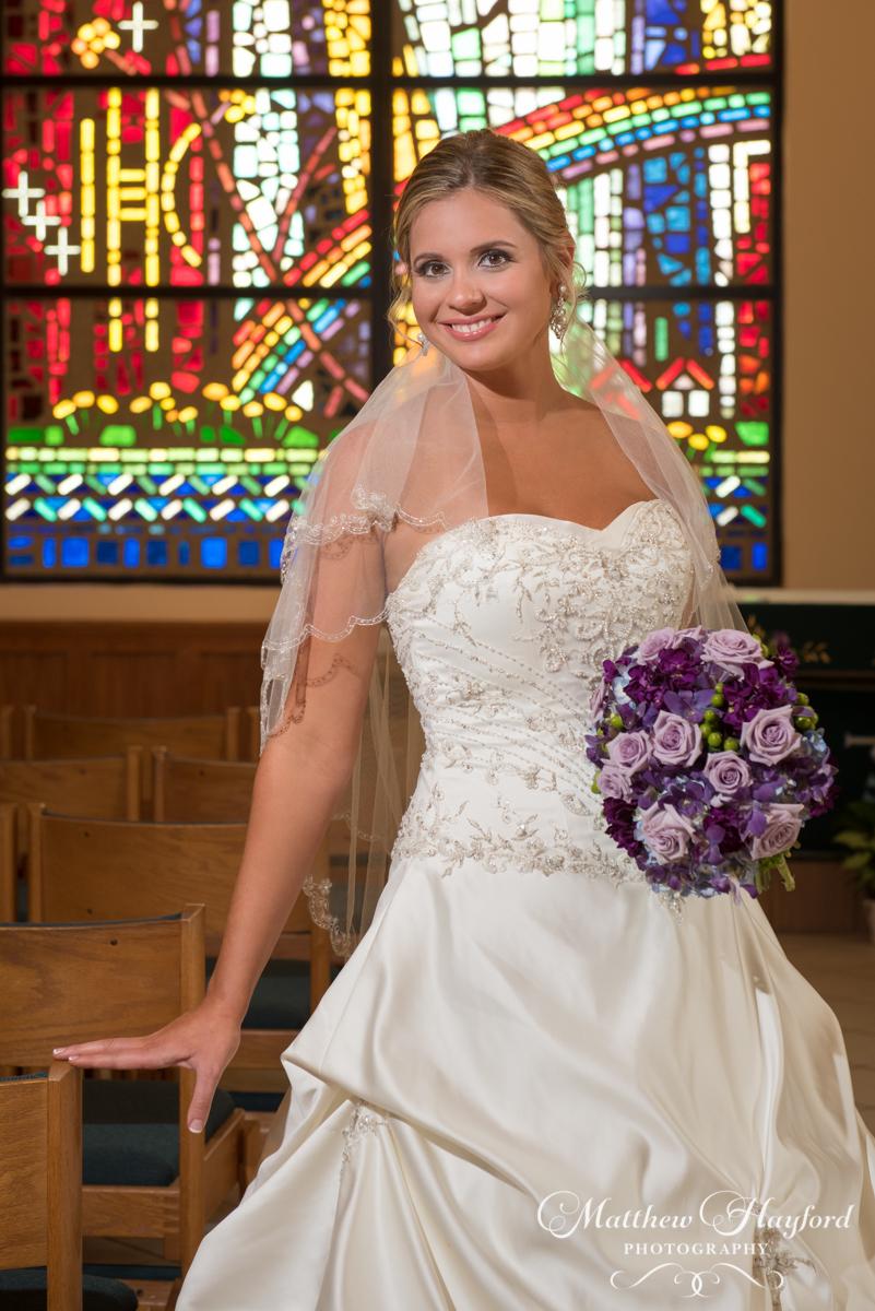 Bridal Portrait in Church by Matthew Hayford Photography