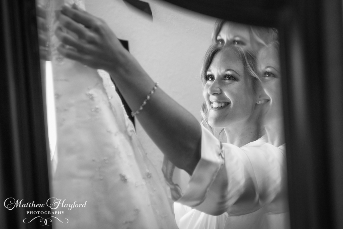 Bride Reflection in mirror at the Royal Crest Room by Matthew Hayford Photography
