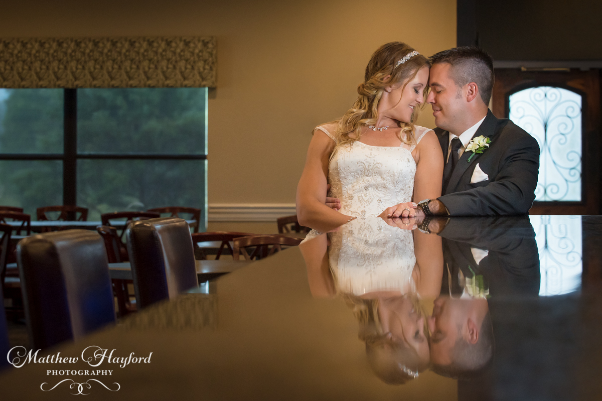Bride and Groom Bar Reflection by Matthew Hayford Photography